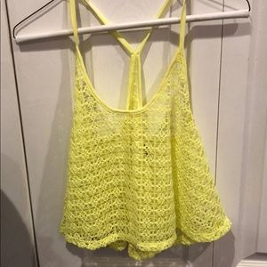 Neon yellow cover up crop top